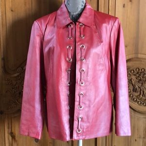 Pink Leather Pamela McCoy Jacket Large EUC